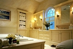 Painted Beaded Inset Bath Vanities and Tub Surround